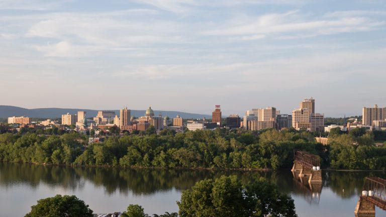 Downtown Harrisburg and the State Capitol.  (Lindsay Lazarski/WHYY)