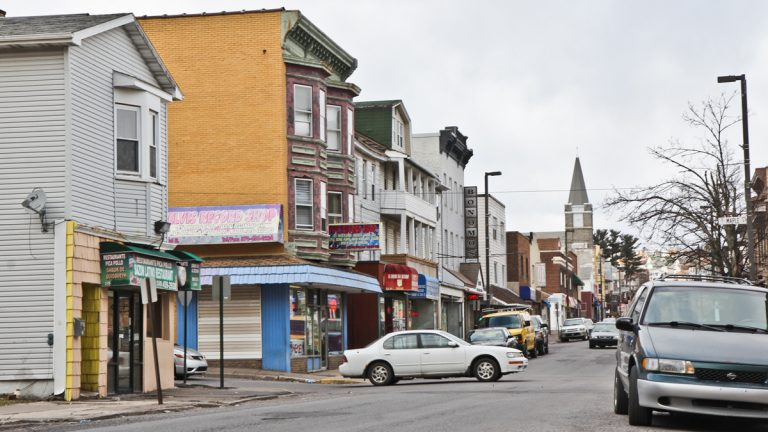 Wyoming Street in Hazelton, Pa. was once nearly vacant but since a wave of immigration, almost 90% of storefronts are filled. (Kimberly Paynter/WHYY, file)