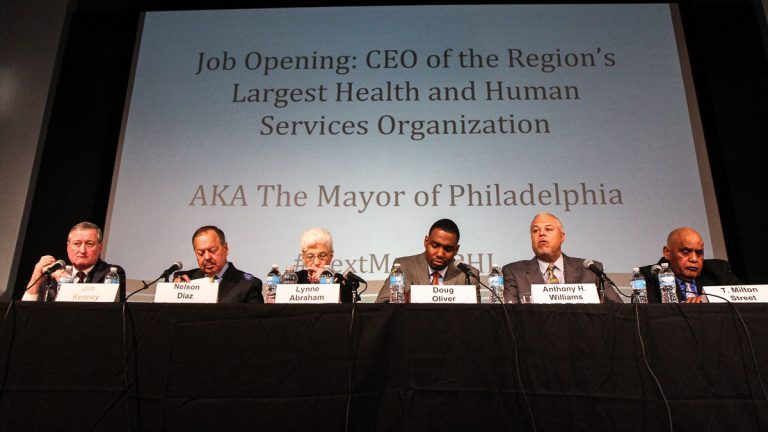 The mayoral candidates, shown here at the Health and Human Services Mayoral Forum, are fewer than three weeks away from the primary season. (Kimberly Paynter/WHYY)