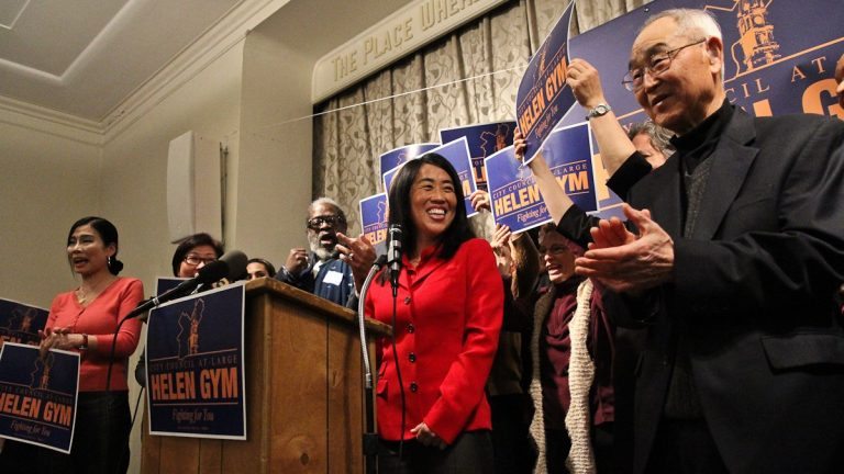 Helen Gym supporters chant 'run, Helen, run' at her official announcement for her City Council at-large run. She holds a narrow lead for the fifth and final Democratic spot on the fall ballot. (Kimberly Paynter/WHYY)