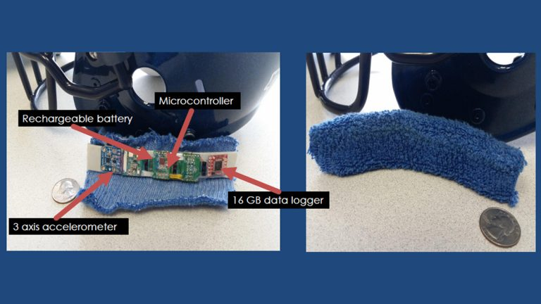 Researchers and engineering students at Villanova University have come up with a wearable device that monitors everything from steps taken to the severity of hits to the head (Images courtesy of Villanova)