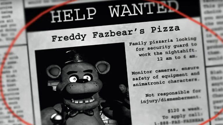 Screenshot of the start of the Five Nights at Freddy's horror video game.