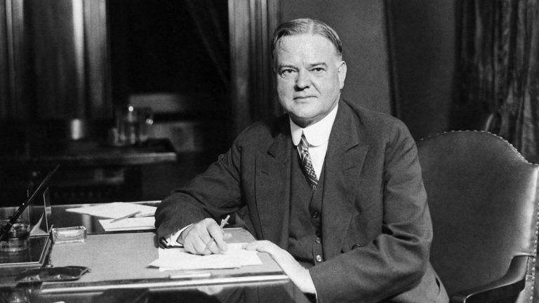 Republican Presidential candidate Herbert Hoover is pictured at his desk in his Washington headquarters
