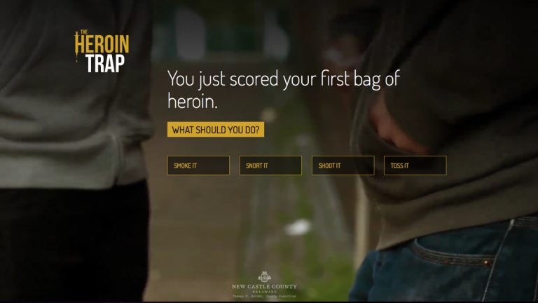 The opening screen of New Castle County's anti-drug online game