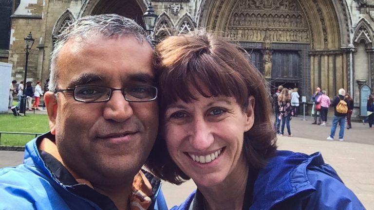 Dr. Ashish Jha and his wife Deborah Stump. (Courtesy of Ashish Jha)