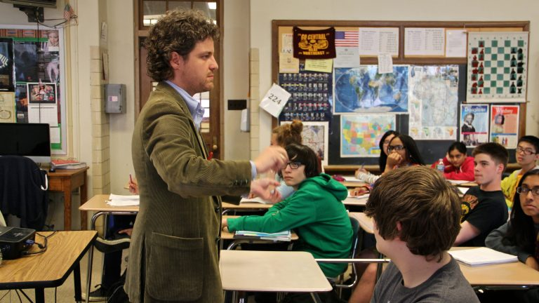 Students participate in a world history class at Central High School. (NewsWorks file photo)