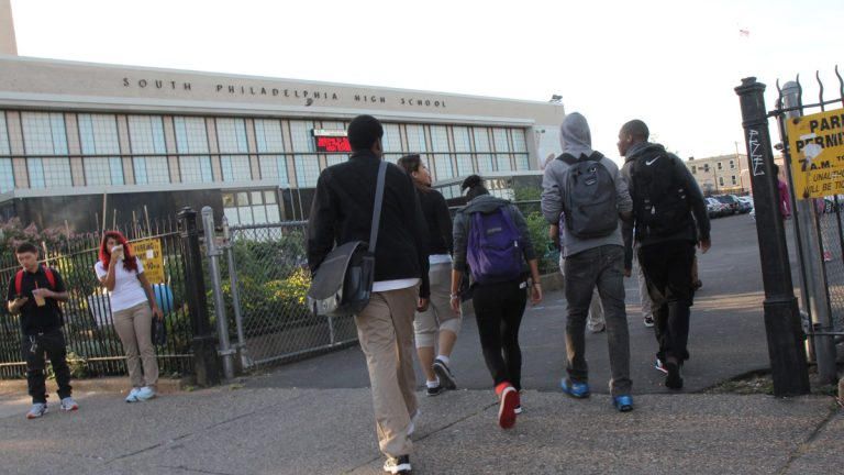 Students trickle into South Philadelphia High School for the first day of the 2013-14 school year. (Kimberly Paynter/WHYY, file)
