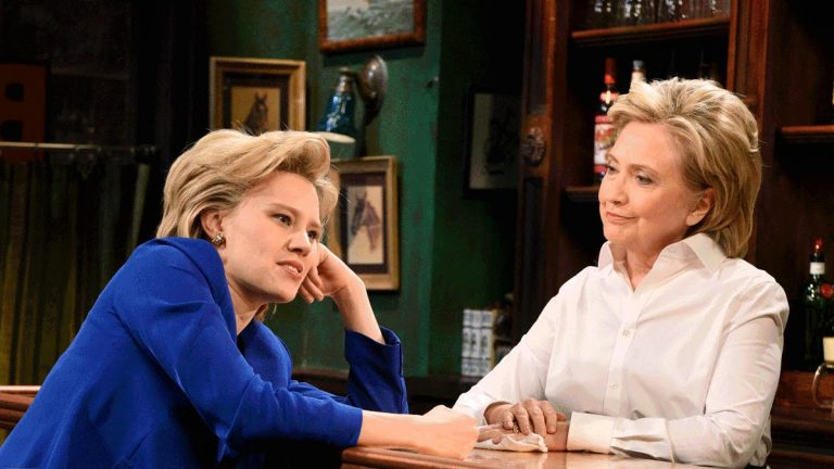 In a scene from a recent episode of 'Saturday Night Live,' the real Hilary Clinton (right) plays a bartender who listens to actor Kate McKinnon's (playing candidate Hillary Clinton) concerns about the presidential race.