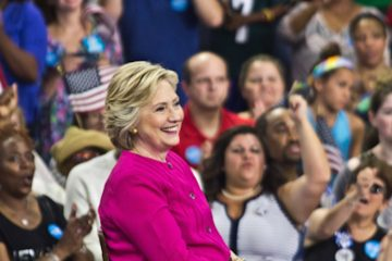 Democratic Presidential nominee Hillary Clinton kicks off a bus tour campaign through Pennsylvania and Ohio at Temple University Friday. (Kimberly Paynter/WHYY)