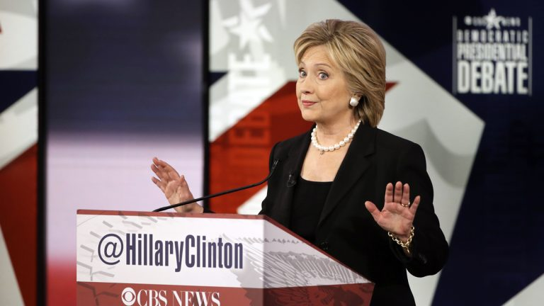 Hillary Rodham Clinton makes a point during a Democratic presidential primary debate, Saturday, Nov. 14, 2015, in Des Moines, Iowa. (AP Photo/Charlie Neibergall)
