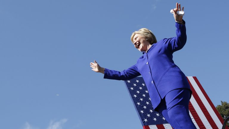 Democratic presidential candidate Hillary Clinton is shown speaking at a rally on Monday in Los Angeles. (AP Photo/John Locher)