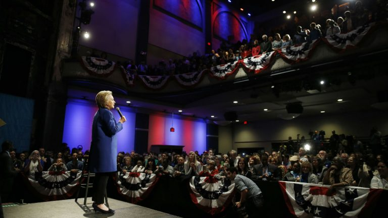 Democratic presidential candidate Hillary Clinton speaks during a campaign stop