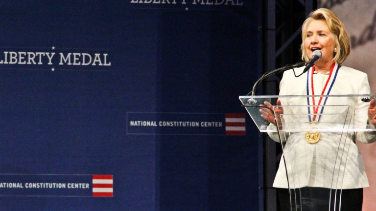 Hillary Clinton speaks at the 2013 Liberty Medal Ceremony at the National Constitution Center in Philadelphia. (Kimberly Paynter/WHYY)