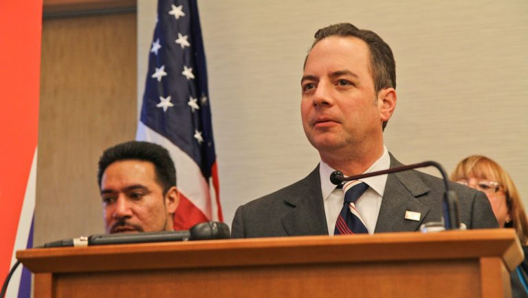 Republican National Committee Chairman Reince Priebus held a press conference at the NCC Friday afternoon to introduce the political party's Pennsylvania State Hispanic Advisory Council. (Kimberly Paynter/WHYY)