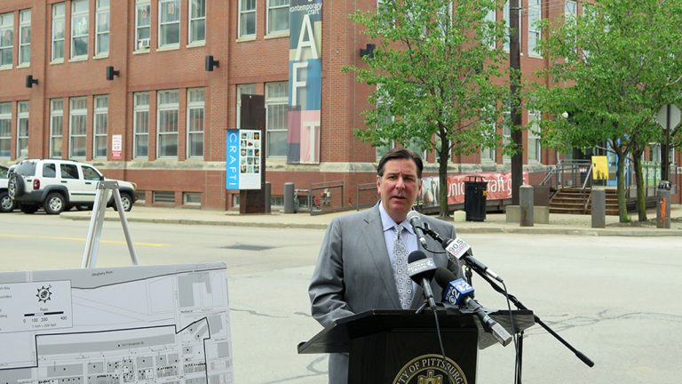 Mayor Bill Peduto announced the naming of Pittsburgh's Strip District as a National Historic District.  (Irina Zhorov /WESA)