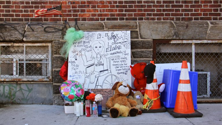 A memorial to Elaine Heyl stands at the corner of Lehigh Avenue and Mascher Street