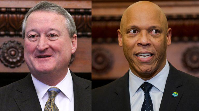 Philadelphia Mayor Jim Kenney (left) and Philadelphia school district Superintendent William Hite (NewsWorks Photo, file and Matt Rourke/AP Photo)