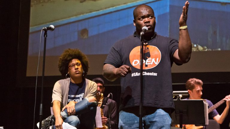 Chantelle Bateman and Mike Miller are Philadelphia-based poets. They rehearse Holding it Down: The Veteran's Dream Project at the Kimmel Center. (Kimberly Paynter/WHYY)