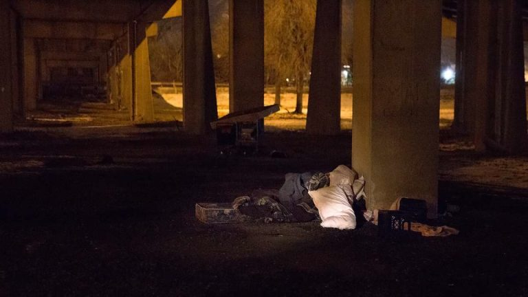 An empty bed is found underneath an overpass near the Walt Whitman Bridge. (Lindsay Lazarski/WHYY)