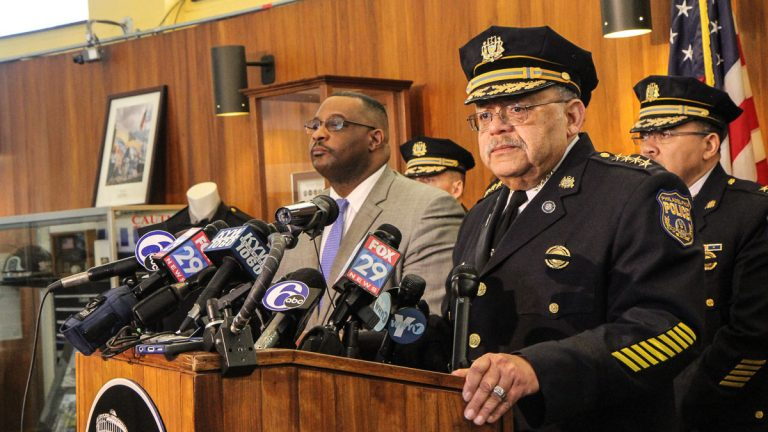 Police Commissioner Charles Ramsey asks for prayers and support for the family of slain police officer Robert Wilson. (Kimberly Paynter/WHYY)