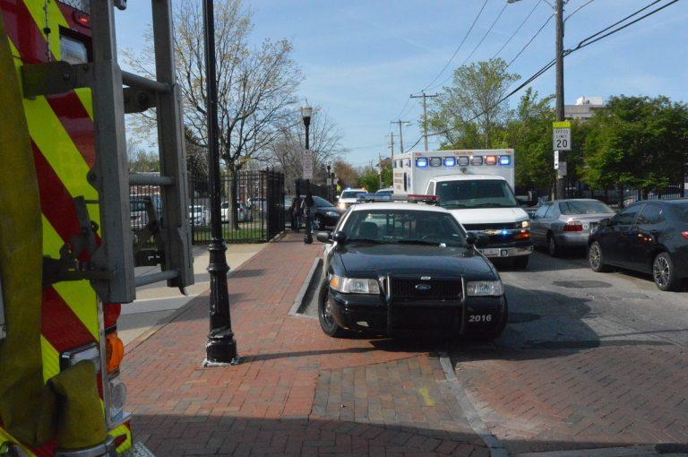 Police outside Howard High School on April 21st. (John Jankowski for NewsWorks)