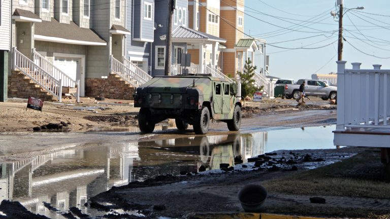 A military Humvee was put to use in West Wildwood during the recent storm. (Emma Lee/WHYY)