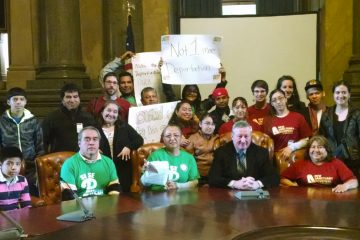 Community organizers from the Philadelphia Family Unity Network (PFUN) meet with Councilman James Kenney after Mayor Michael Nutter signed an executive order effectively ending ICE holds in Philadelphia. (Image courtesy of Jasmine Rivera)