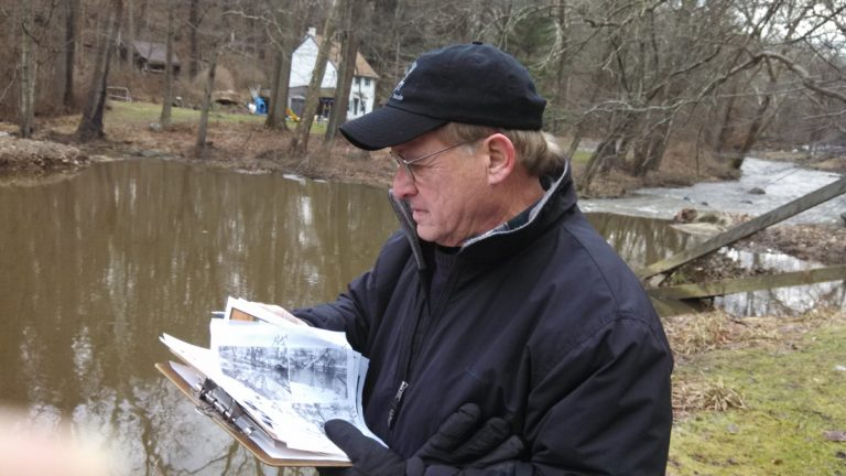 IceWatch USA volunteer Bob Berke prepares to measure ice in Delaware County. (Kimberly Haas/for The Pulse)