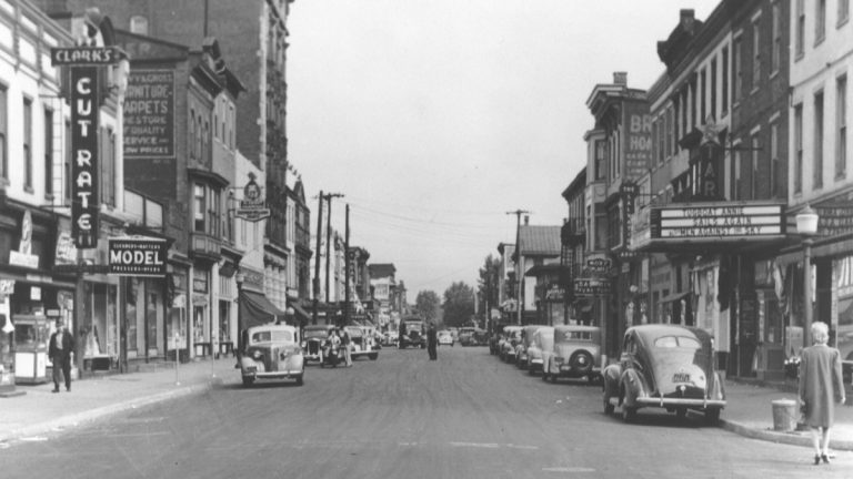 A street view from N. 3rd and Verbeke Streets in 1941. See more historical images paired with images from today in our <a href=