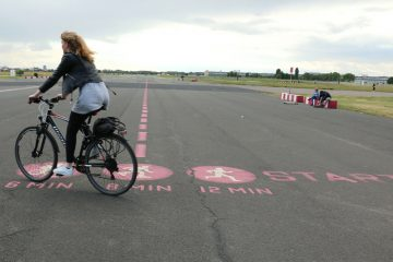 Berlin turned its former airport Tempelhof, the site of the Berlin Airlift, into a park. The runway is a path for walking, biking, and roller skating. (Marielle Segarra/WHYY)