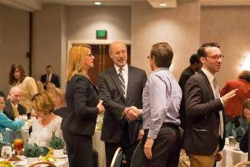 Pennsylvania Governor Tom Wolf greets conference attendees before giving the keynote address about some of the challenges like infrastructure
