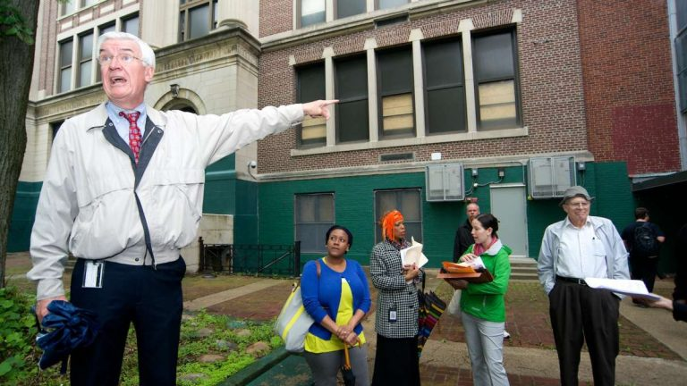 Representatives with the School District of Philadelphia led an open-house tour of the GHS property in May. (Bas Slabbers/for NewsWorks)