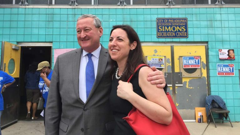 Mayoral candidates Jim Kenney and Melissa Murray Bailey, shown here outside a West Oak Lane polling place on primary day, agree that city streets should be cleaned up regularly. (Brian Hickey/WHYY)