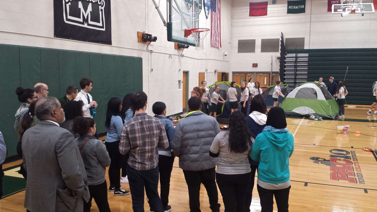 Kensington students drop in on a Methacton High School gym class.