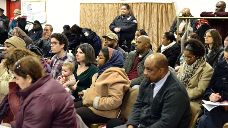 The initial PhillyRising neighborhood meeting (shown here) was about introductions. On Thursday night, residents and officials tried to hone a mission. (Bas Slabbers/for NewsWorks)
