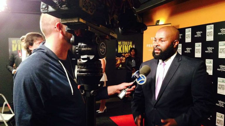 Ed Dunn, the head coach of the MLK High Cougars football team, was interviewed before Wednesday's premiere of 'We Could Be King' in New York City. (Brian Hickey/WHYY)