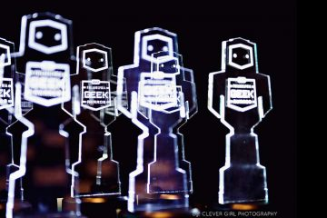 Awards await their forever homes at the 2013 Geek Awards. (Jackie Sauer/Clever Girl Photography)