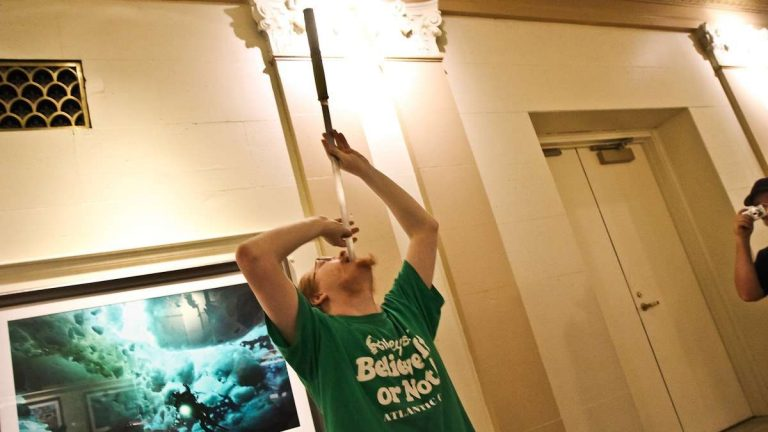 David Peyre-Ferry has been a sword swallower for three years. (Kimberly Paynter/WHYY)