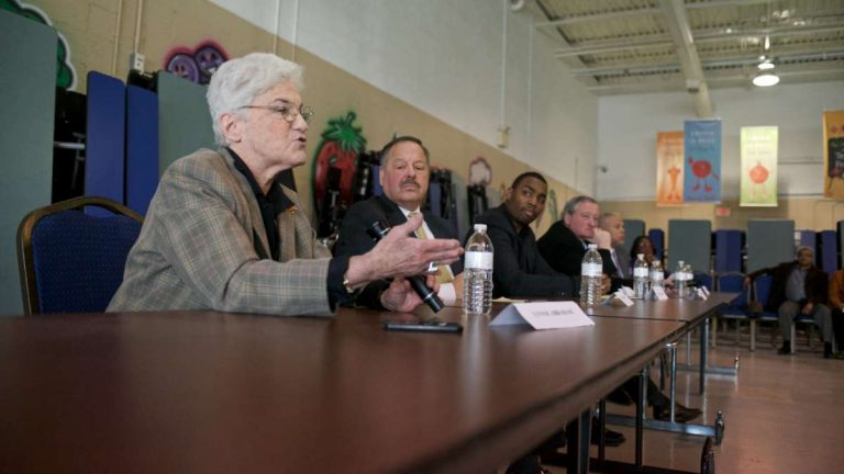 Mayoral candidates Lynne Abraham, Nelson Diaz, Doug Oliver, Jim Kenney and Anthony Williams fielded questions from a Northwest Philadelphia crowd in the cafeteria of the West Oak Lane Charter School on Saturday. (Bas Slabbers/for NewsWorks)