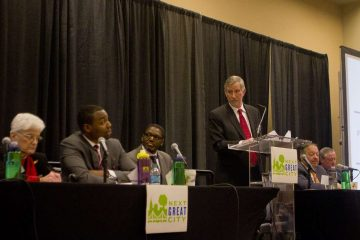 Scenes from Tuesday night's Next Great City mayoral forum at the Convention Center. (Brad Larrison/for NewsWorks)