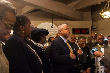 Mayoral candidate Anthony Hardy Williams speaks to Black Clergy of Philadelphia and Vicinity members after receiving the group's endorsement on Thursday. (Brad Larrison/for NewsWorks)