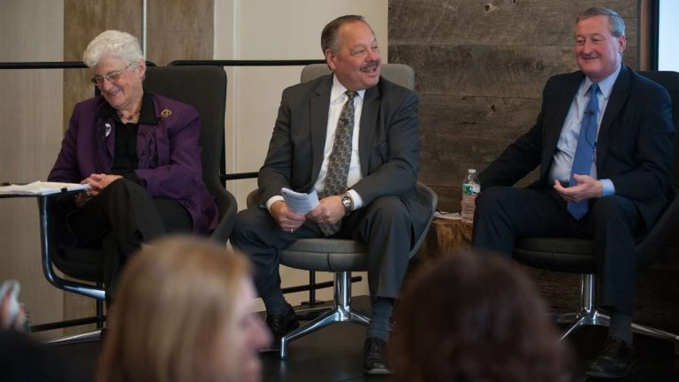 Laughs were had by all when Nelson Diaz asked whether Jim Kenney had his microphone intentionally turned off at a primary-race mayoral forum. (Tracie Van Auken/for NewsWorks)