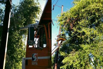 SEPTA crews work to remove downed trees on the Media/Elwyn Line between 49th Street and University City stations. (Photos courtesy of SEPTA Media Relations)