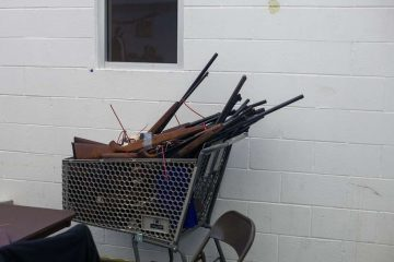Over 90 guns were collected at a gun buyback event in West Oak Lane according to Inspector Anthony Williams of the Philadelphia Police Department. (Brad Larrison for NewsWorks)