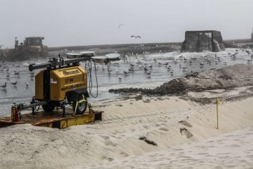 Beach replenishment begins in the borough of Ship Bottom in Ocean County on May 7. (Kimberly Paynter/WHYY)
