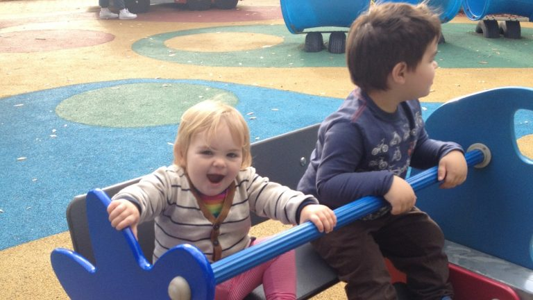 Playing at Smith Memorial Playground. (Courtesy of Dena Driscoll)