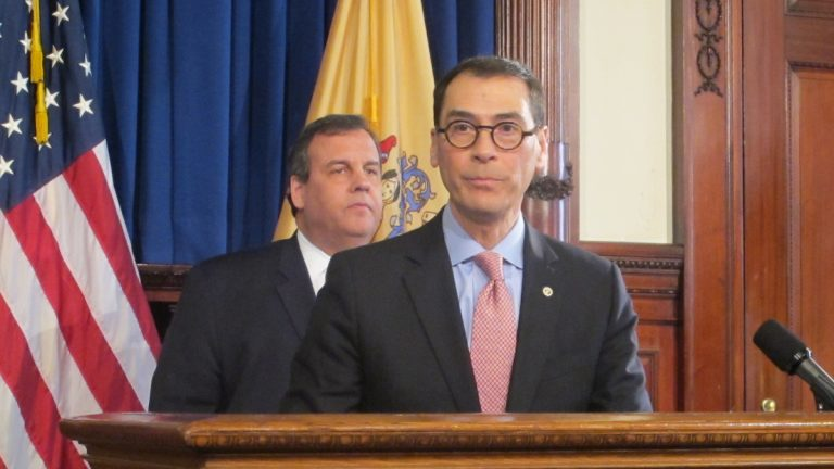 New Jersey Gov. Chris Christie announces Superior Court Judge David Bauman's nomination Monday at a Statehouse news conference. The governor previously nominated Bauman for the high court bench in 2012