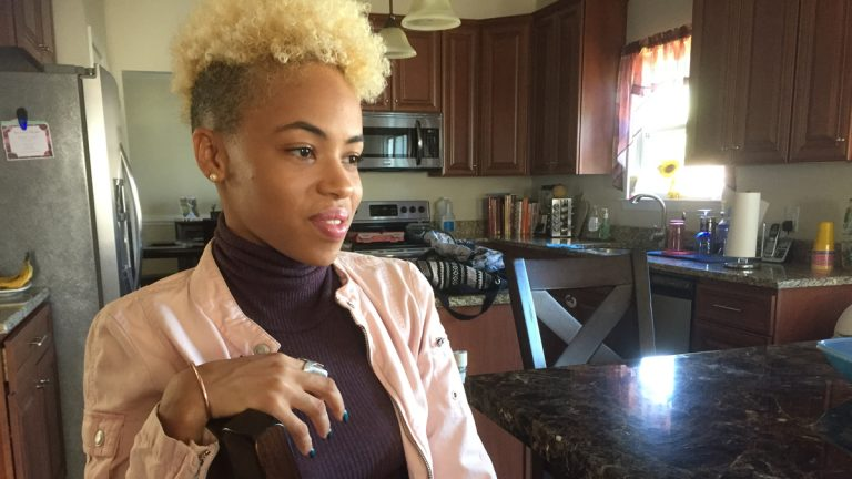 On Monday night's premiere of NBC's singing competition 'The Voice,' Claymont resident Nadjah Nicole, 23, landed a spot on Team Blake. (Zoe Read/WHYY)