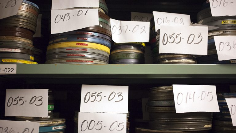 Reels of film wait to be catalogued in one of the Library of Congress warehouses. (Irina Zhorov/The Pulse)
