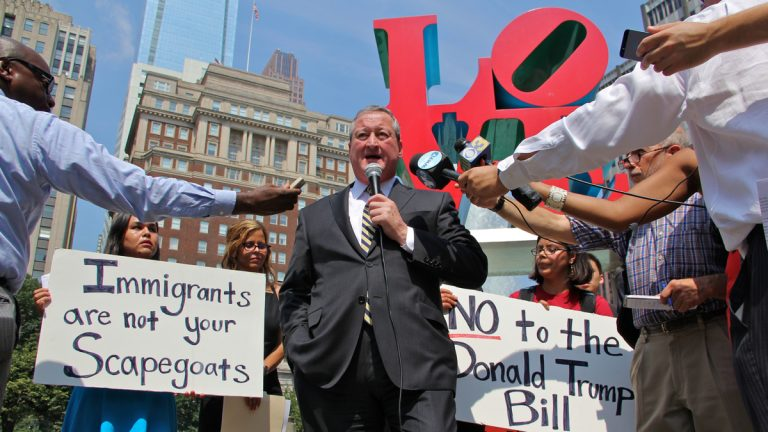 Mayoral candidate Jim Kenney speaks at Wednesday's immigration rally. (Emma Lee/WHYY)